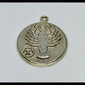 Jewelry - Vtg 925 Sterling Silver Cancer Zodiac Sign Pendant